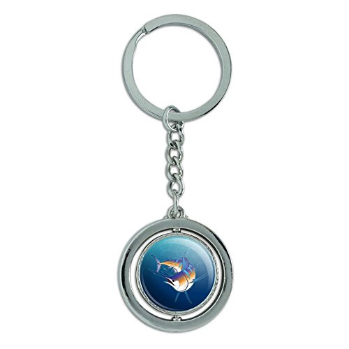 Blue Marlin Swimming in Ocean Spinning Round Chrome Plated Metal Keychain Key Chain Ring