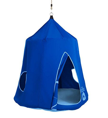 HearthSong Go! HangOut HugglePod with LED Lights - Approx. 45 diam. x 54 H - Bright Blue - Cushion Included by HearthSong®