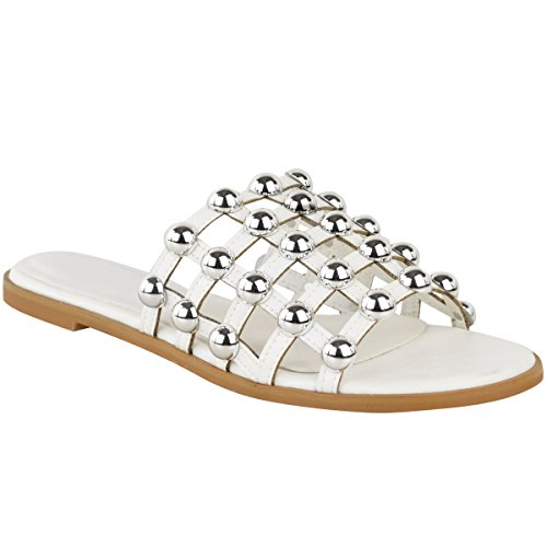 Fashion Thirsty Womens Flat Studded Summer Sandals Open Slip On Shoes Size 8 Leaq9wW9o
