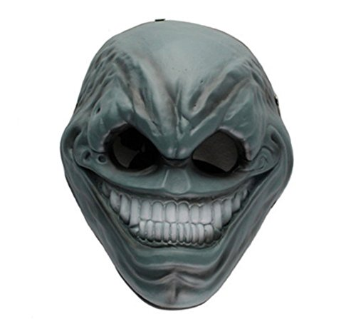 Gmasking Resin Payday 2 The Grin Cosplay Mask Replica+Gmask Keychain (Blue) -