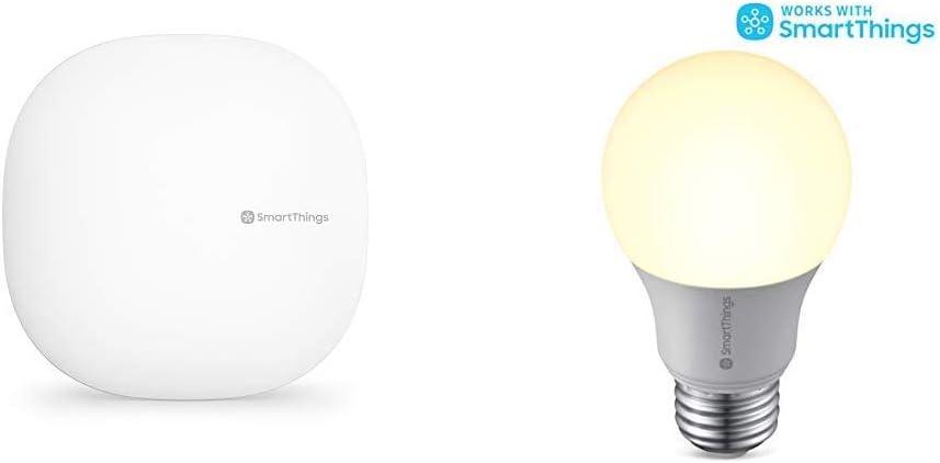 Samsung SmartThings Hub 3rd Generation [GP-U999SJVLGDA] Smart Home Automation Hub Home Monitoring Smart Device with SMARTBULB/GP-LBU019BBAWU / GP-LBU019BBAWU / Smart Light Bulb