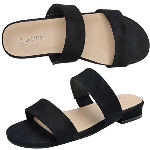 Luoika Women's Wide Width Slide Sandals - Slip On Flat Double Bands Casual Summer Shoes.(181154,Black,9) ()