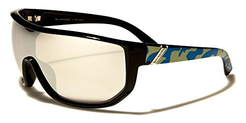 (Blue Camo Oversized Biohazard Shield Camouflage Mens Womens Sunglasses Mirrored Lenses )