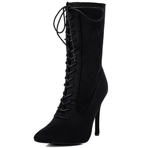 Ankle Up Heel Toe High Pointed Spylovebuy Black Boots Zip Stiletto Women's Stretch Lace Kadence qnw8tSvR