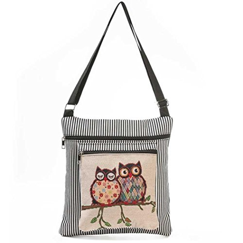 Tote Single Handbag Shoulder Daily Owl Paymenow Adjustable Casual Strap Small Women Black with Printed 0TyHqpX