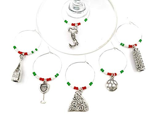 Italy Wine Charms, Gift for Italian and those who love Italy. Includes Pizza, Italy charm, Leaning Tower of Pisa, Soccer. Set of 6. ITALY FLAG THEMED BEADS. - Feet Italian Charm