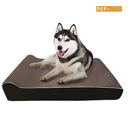 Memory Foam Dog Bed | Extra Large Dog Bed | Big Dog Bed with Pillow | Orthopedic Dog Bed Waterproof Washable Brown Suede Cover | Anti-Slip Bottom Liner | Anti-Microbial Removable Cover | XL Dog Bed (Tables Kirklands Sofa)
