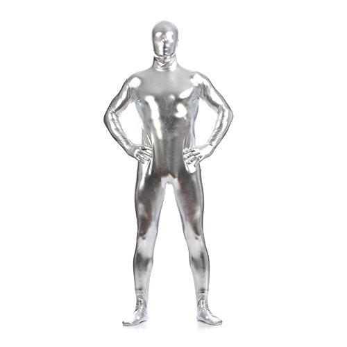 Metallic Zentai Dress Full Body Costume Bodysuit Unisex Fancy Leotard Unitard Second Skin with -