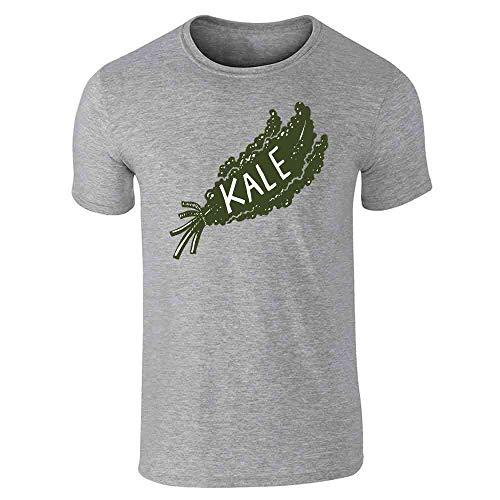Pop Threads Kale Retro Vegan Vegetarian Healthy Gray L Short Sleeve T-Shirt