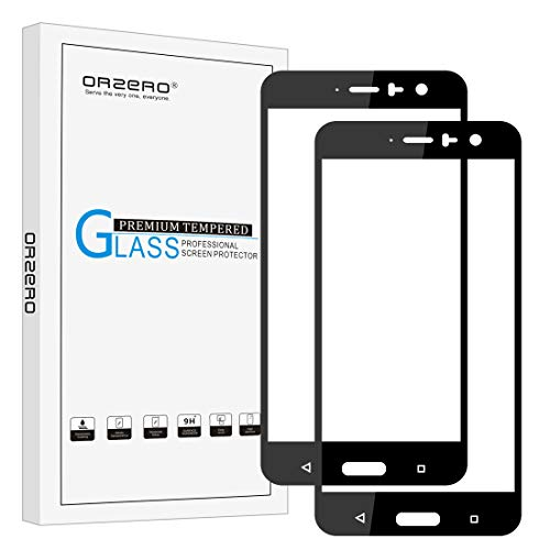 [2 Pack] Orzero for HTC U11 / U 11 / Ocean [ Full Coverage ] Tempered Glass Screen Protector, Orzero 2.5D Arc Edges 9 Hardness HD Anti-Scratch [ Lifetime Replacement Warranty ]-Black