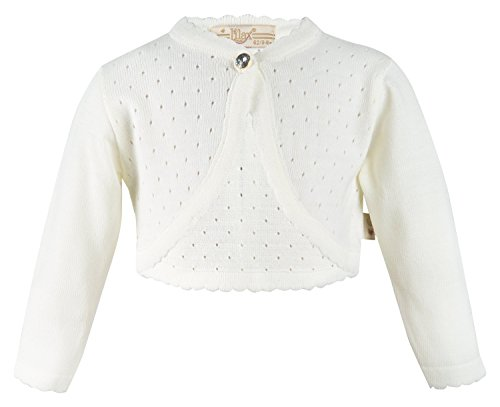 Lilax Baby Girls' Knit Long Sleeve One Button Closure Bolero Shrug 3-6 Months Cream