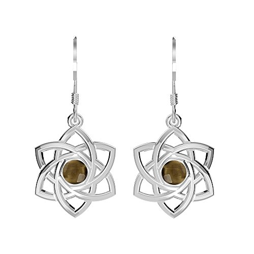 0.60ctw, Genuine Cabochon Smoky Quartz & 925 Silver Plated Celtic Knot Dangle Earrings (Cabochon Smoky Earrings)