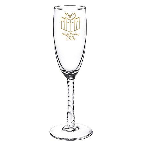 Personalized Color Printed Twisted Stem Champagne Flute - Gift Box - Gold - 72 pack (Flute Stem Twisted)