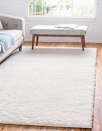 Unique Loom Davos Shag Collection Contemporary Soft Cozy Solid Shag Ivory Area Rug (8' 0 x 10' 0)