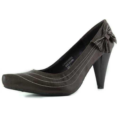 Womens Støtfanger Magic-03 Faux Spisse Pumps Brun Pu