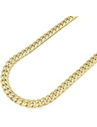 b1dbe265abc 14K Yellow Gold 6mm Wide Miami Cuban Hollow Link Chain Necklace Box Clasp  22-34
