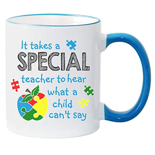 Autism Awareness Puzzle Piece Apple Special Teacher Mug. 2 Sided 11 oz. Sublimated