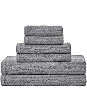 Nautica | Brookwater Collection | Towel Set-100% Cotton, Super Soft & Absorbent, Quick Dry & Low Linting, Medium Weight, 6 Piece, Grey