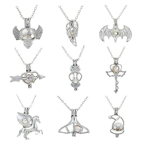 Pearl Set Oval - HENGSHENG 9 PCS Pendant Necklace Sets Pearl Oysters Fitting with Real Oval Pearl Pearl Cage Necklace Gift for Mother Heart/Dog/Bear/Elephant Pendant Cage Necklaces for Women