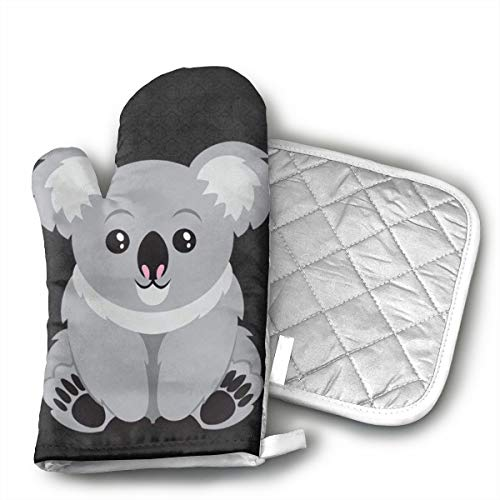 HAIDEL Australia Koala Bear Unique Kitchen Non Slip Heat Resistant Oven Flame Cooking Baking Mitts Gloves for,BBQ,Grilling Machine Washable,One Size-Christmas Christmas Eve Halloween Insulated Gloves