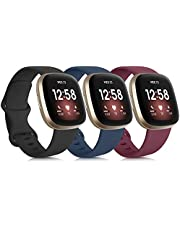 Tobfit Sport Bands Compatible with Fitbit Versa 3 Bands / Fitbit Sense Bands, Classic Soft Silicone Replacement Wristbands for Fitbit Versa 3 Smart Watch Women Men