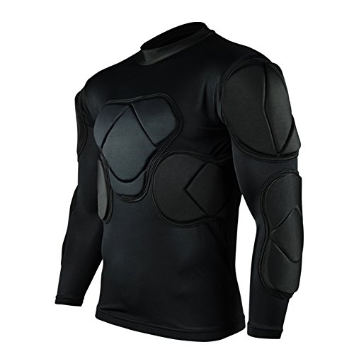 Long Sleeve Goalkeeper Training Jersey (Shinestone Men's Sports Soccer Goalkeeper Long Sleeve Protective Clothes Door Will Come crashproof (Small, Black))