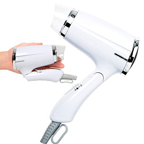 Travel Blow Dryer Folding Hair Dryer Compact Professional Salon Hair Dryer Negative Ionic Low Noise Hair Dryer 3 Heat Settings Lightweight Mini 8x7inch Hair Dryer for Men/Women (White)