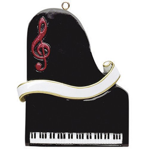 Personalized Piano Christmas Ornament 2018 - Black Keyboard Music Instrument with Red Treble Clef Elegant Ribbon - Pianist Performs Recital Orchestra Hobby Profession Teacher - Free Customization ()