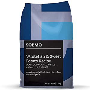 Amazon Brand - Solimo-Ultra Premium Dry Dog Food, No Added Grain, Wild-Caught Whitefish & Sweet Potato Recipe, 30 Lb. Bag