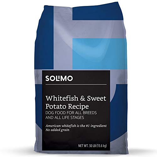 Amazon Brand - Solimo-Ultra Premium Dry Dog Food, No Added Grain, Wild-Caught Whitefish & Sweet Potato Recipe, 30 Lb. ()