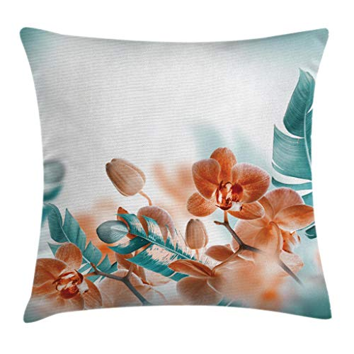 (Ambesonne Tropical Throw Pillow Cushion Cover, Tropical Orchids Blossom Leaves on Blurred Background Floral Themed Modern Art, Decorative Square Accent Pillow Case, 18