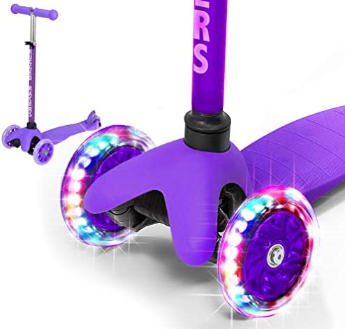 Rugged Racers Purple Kick Scooter for Boys Girls 3 Wheel Scooter, Kick Scooter for Kids with LED Light PU Wheels, Step Brake, Lean 2 Turn, Ride on Toys for Children 3 Year Plus