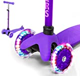 Rugged Racers Purple Kick Scooter for Boys & Girls 3 Wheel Scooter, Kick Scooter for Kids with LED Light PU Wheels, Step Brake, Lean 2 Turn, Ride on Toys for Children 3 Year Plus