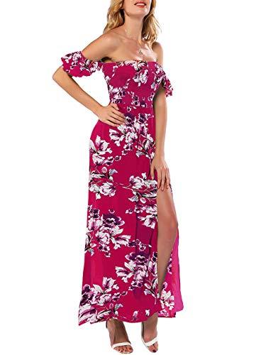 Azalosie Women Off Shoulder Maxi Dress Maternity Floral Short Sleeve Empire Waist Slit Dress Summer Party Beach