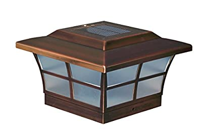 "Classy Caps SL086 Plated Prestige Solar Post Cap, 6"" x 6"", Copper"