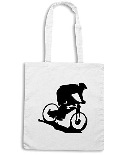 T-Shirtshock - Bolsa para la compra OLDENG00193 mountain biker Blanco