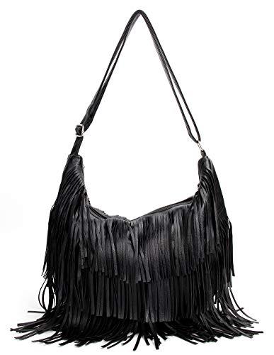 Tassel Crossbody Bag - Womens Bag PU Leather Hobo Shoulder Bag Messenger Bag Tassel Bag Women's Crossbody Bag Handbag Messenger Casual Purse with Tassel SHY0011-1