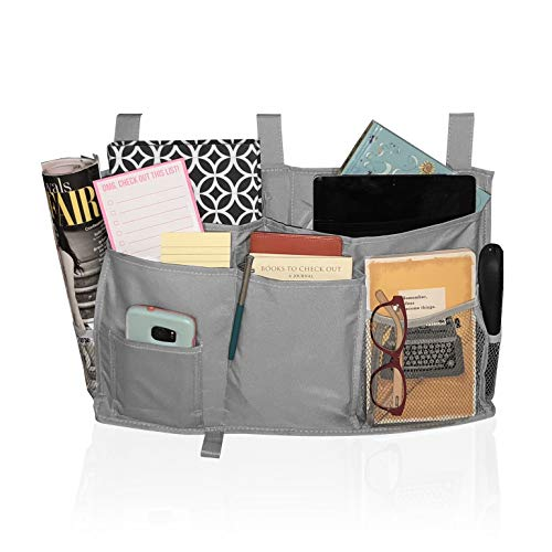 LULUz Bedside Caddy, 8 Pocket Hanging Storage Bag, Organizer for Bunk Bed, Bed Rail, Dorm Room Essentials, Hospital Bed, Bathroom, Crib, Stroller - Grey ()