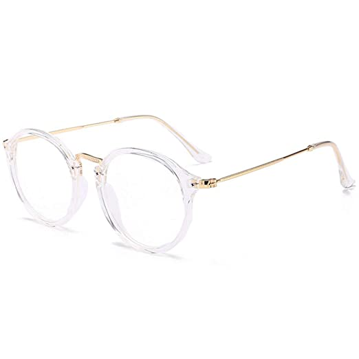 Gafas redondas con montura retro de pasta transparente y patillas doradas.Opción de colores.