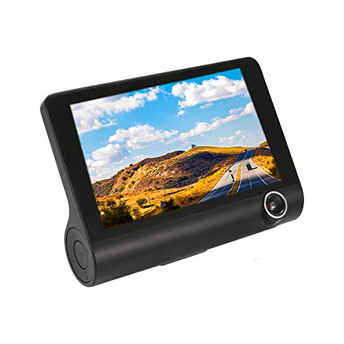 KKmoon 4 inch 3 Lens Car DVR Driving Recorder, DVRS Dual Lens Night Vision Carcorder, Rear View Auto Registrator with Two Cameras