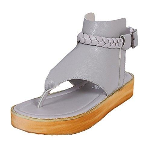 Sentao Sandalias Verano Estilo Bohemio Romanos Zapatos Flip Flops Playa Zapatos Gris