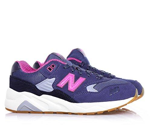 NEW BALANCE - Zapatilla deportiva violeta y fucsia con cordones, en gamuza y tela, con logo lateral y posterior, mujer, mujeres, Niña, Niñas Azul