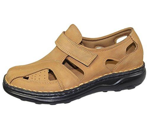 Herren Klettverschluss Sandalen Walking Fashion Casual Sommer Strand Slipper Leder Schuhe Größe Braun - Camel