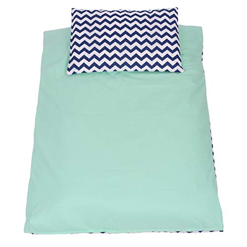 ZigZag Vert Tour de lit pour tous les lits Parure 90x120 Sevira Kids Design Reversibile zig-zag Cotone Certificato Torre di letto cuscini modulabile CON parure 14 PEZZI