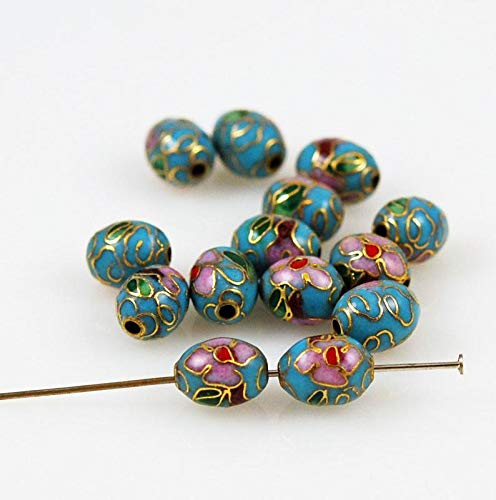 (Perfect and Stunning Beads - Cloisonne Turquoise Blue Oval Beads Chinese 9 x 7mm (12) Vintage)