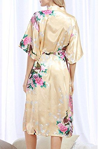 L'abbigliamento Quanto Notte Donne Kimono Corte Di Champagne Simgahuva Vestaglie A Seta Abiti Maniche Pavone Riguarda Da Pqw0PzfaWB