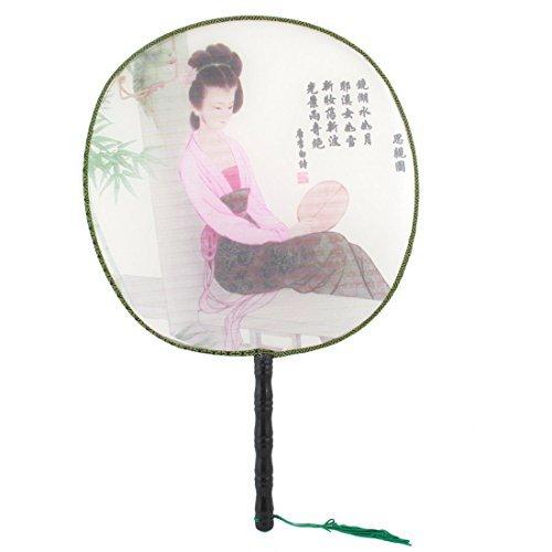Femme Glands Détail bambou poignée ronde Éventail Noir Rose DealMux DLM-B00WW6LA1I