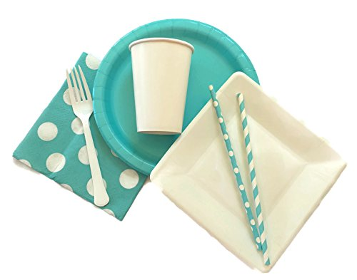 Teal and White Party Supply Pack; Bundle includes dinner and dessert plates, napkins, cups, forks, and straws for 18 guests.