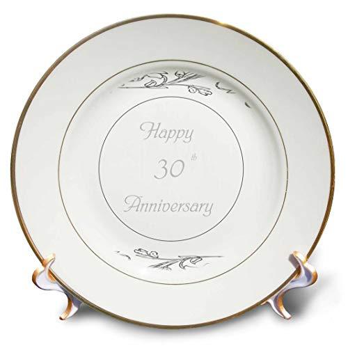 3dRose cp_183458_1 Print of Elegant Silver 30th Anniversary Greeting Porcelain Plate, 8
