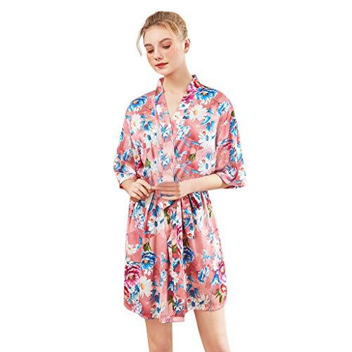 LLNONG Women Fashion Floral Printed Nightgown Lace Up Pajamas Comfy Satin Nightdress Casual Loose Sleepwear Pink